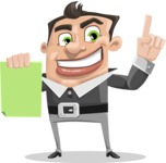 Chubby Businessman Cartoon Vector Character AKA Hank - Sign 3