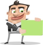 Chubby Businessman Cartoon Vector Character AKA Hank - Sign 2