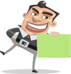 Chubby Businessman Cartoon Vector Character AKA Hank - Sign 4