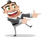 Chubby Businessman Cartoon Vector Character AKA Hank - Point
