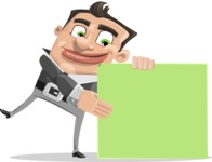 Chubby Businessman Cartoon Vector Character AKA Hank - Sign 8