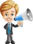 Business Kid Cartoon Vector Character AKA Sid - Loudspeaker