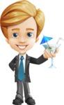 Business Kid Cartoon Vector Character AKA Sid - Cocktail