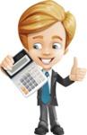 Business Kid Cartoon Vector Character AKA Sid - Calculator