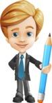 Business Kid Cartoon Vector Character AKA Sid - Pencil
