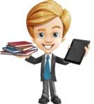 Business Kid Cartoon Vector Character AKA Sid - Book and iPad