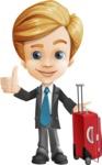Business Kid Cartoon Vector Character AKA Sid - Travel1