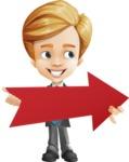 Business Kid Cartoon Vector Character AKA Sid - Pointer2