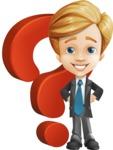 Business Kid Cartoon Vector Character AKA Sid - Question