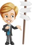 Business Kid Cartoon Vector Character AKA Sid - Crossroad