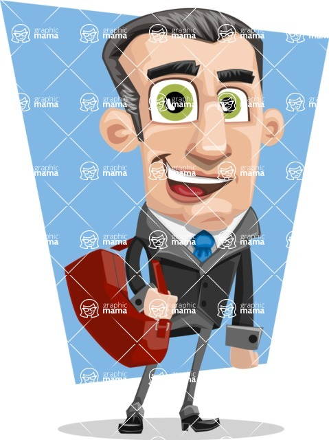 Funny Businessman Cartoon Vector Character AKA Frank - shape10