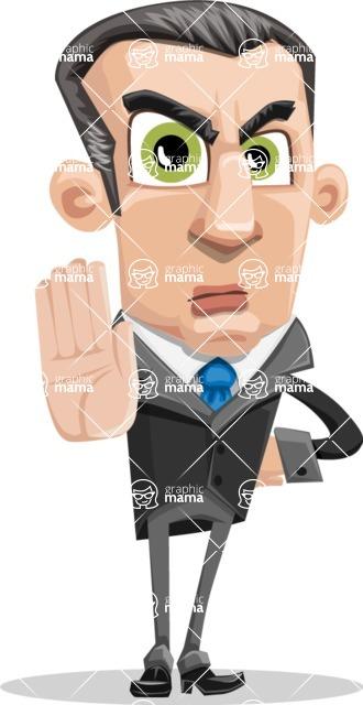 Funny Businessman Cartoon Vector Character AKA Frank - Stop