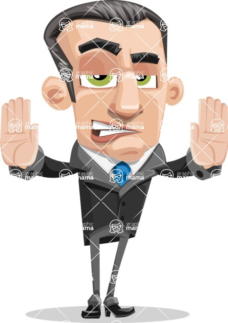 Funny Businessman Cartoon Vector Character AKA Frank - Stop 2