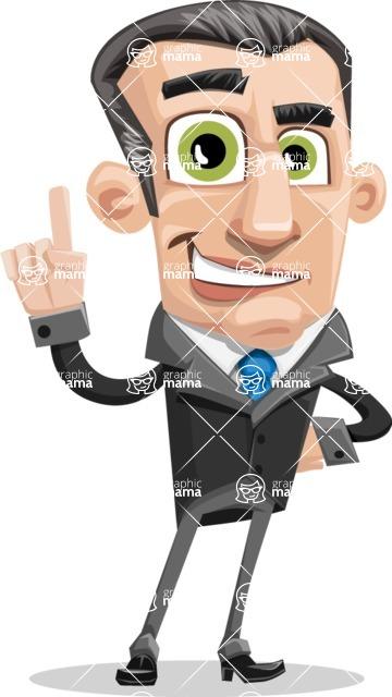 Funny Businessman Cartoon Vector Character AKA Frank - Attention