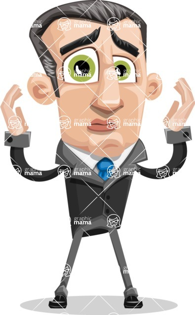 Funny Businessman Cartoon Vector Character AKA Frank - Confused