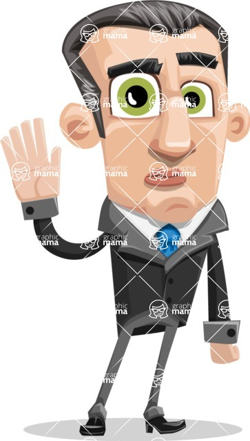 Funny Businessman Cartoon Vector Character AKA Frank - Goodbye