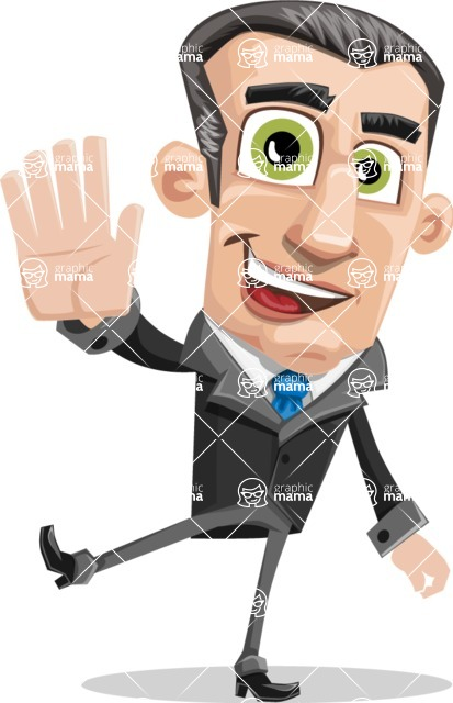 Funny Businessman Cartoon Vector Character AKA Frank - Hello