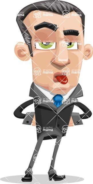 Funny Businessman Cartoon Vector Character AKA Frank - Making Face