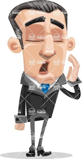 Funny Businessman Cartoon Vector Character AKA Frank - Bored