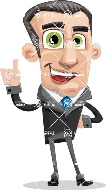 Funny Businessman Cartoon Vector Character AKA Frank - Thumbs Up