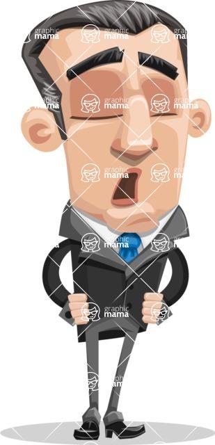 Funny Businessman Cartoon Vector Character AKA Frank - Bored 2