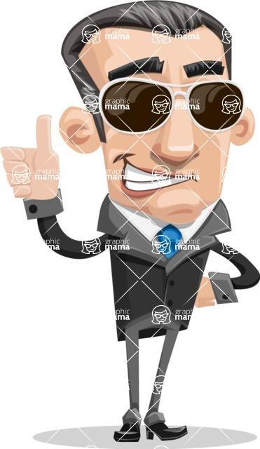 Funny Businessman Cartoon Vector Character AKA Frank - Sunglasses