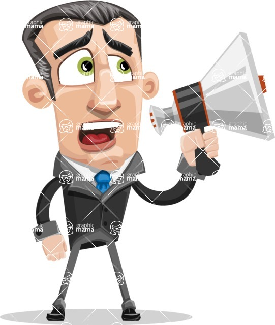 Funny Businessman Cartoon Vector Character AKA Frank - Loudspeaker