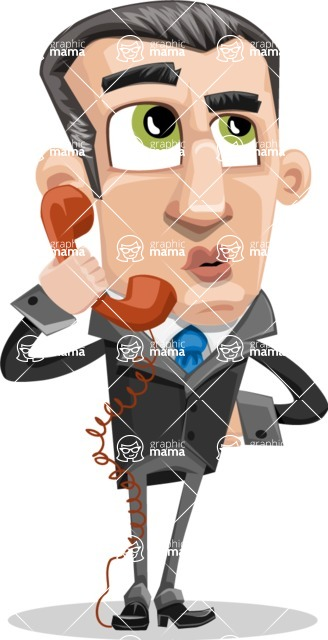 Funny Businessman Cartoon Vector Character AKA Frank - Support
