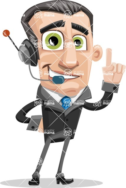 Funny Businessman Cartoon Vector Character AKA Frank - Support 2