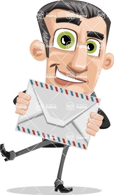 Funny Businessman Cartoon Vector Character AKA Frank - Letter