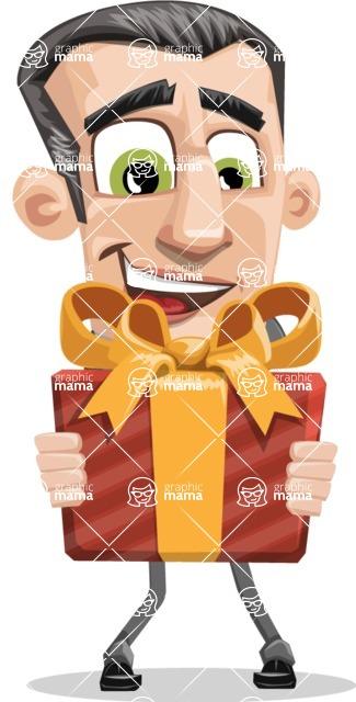 Funny Businessman Cartoon Vector Character AKA Frank - Gift