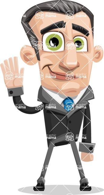 Funny Businessman Cartoon Vector Character AKA Frank - Wave