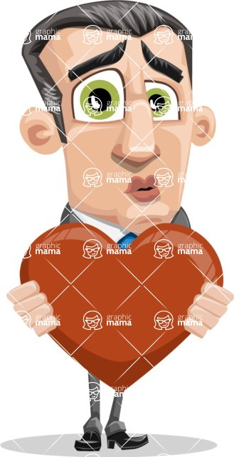 Funny Businessman Cartoon Vector Character AKA Frank - Love