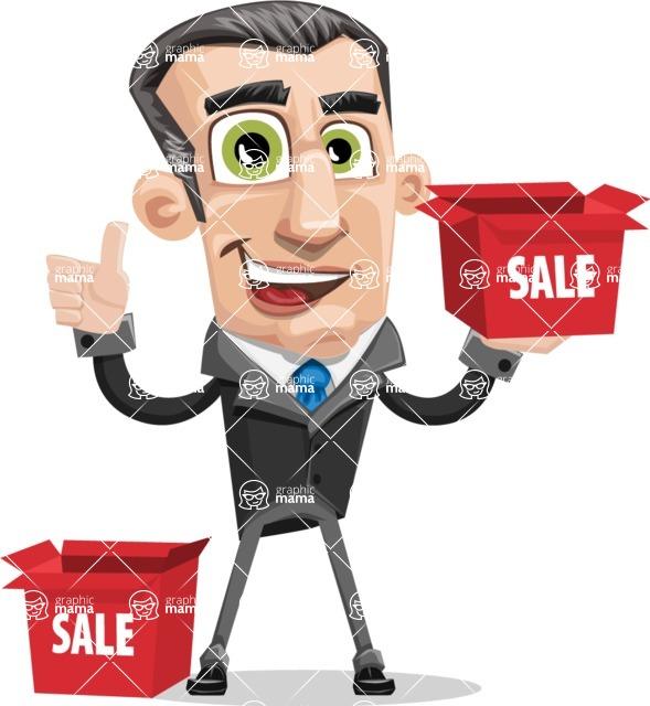 Funny Businessman Cartoon Vector Character AKA Frank - Sale