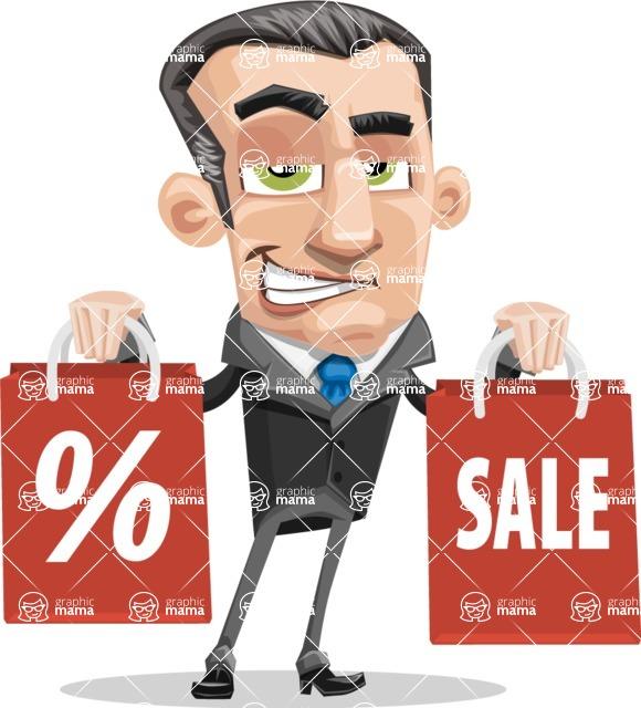 Funny Businessman Cartoon Vector Character AKA Frank - Sale2
