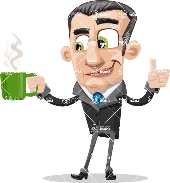 Funny Businessman Cartoon Vector Character AKA Frank - Coffee