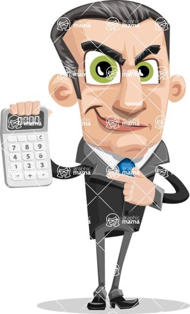 Funny Businessman Cartoon Vector Character AKA Frank - Calculator