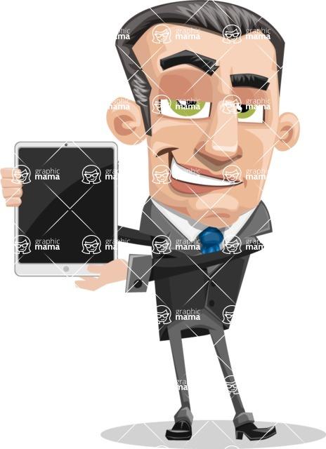 Funny Businessman Cartoon Vector Character AKA Frank - iPad 1