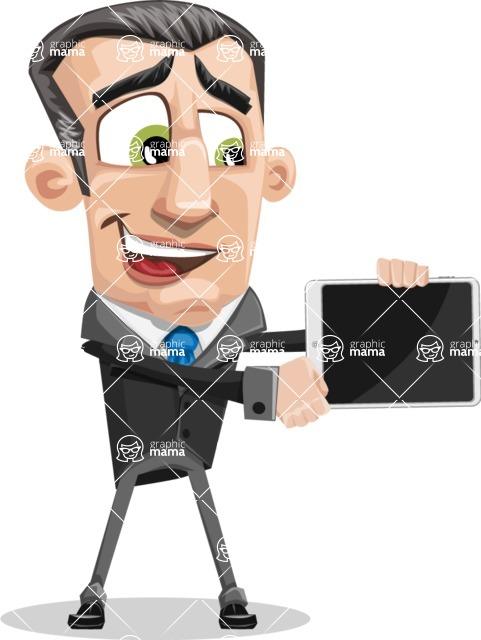 Funny Businessman Cartoon Vector Character AKA Frank - iPad 2