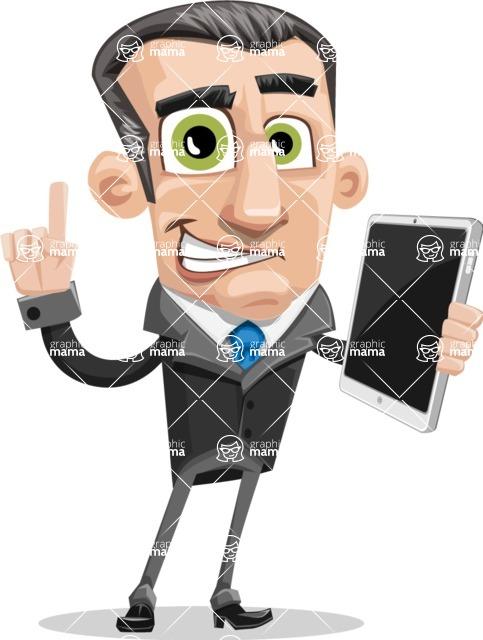 Funny Businessman Cartoon Vector Character AKA Frank - iPad3