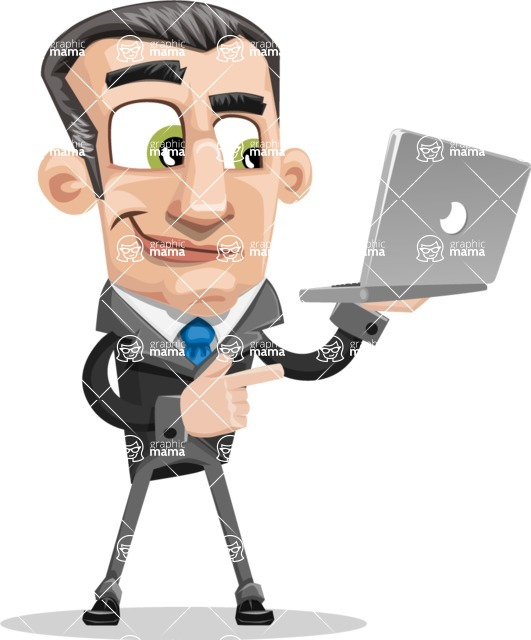 Funny Businessman Cartoon Vector Character AKA Frank - Laptop 1
