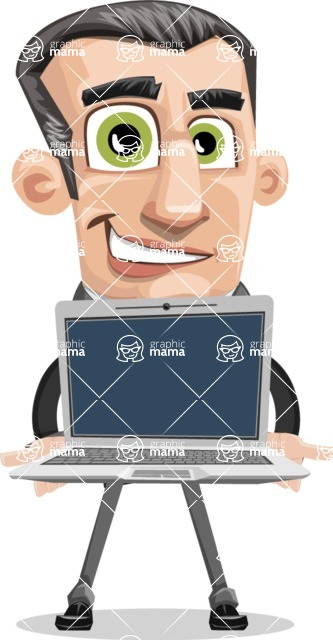 Funny Businessman Cartoon Vector Character AKA Frank - Laptop 2