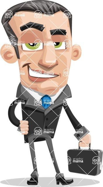Funny Businessman Cartoon Vector Character AKA Frank - Brifcase 1