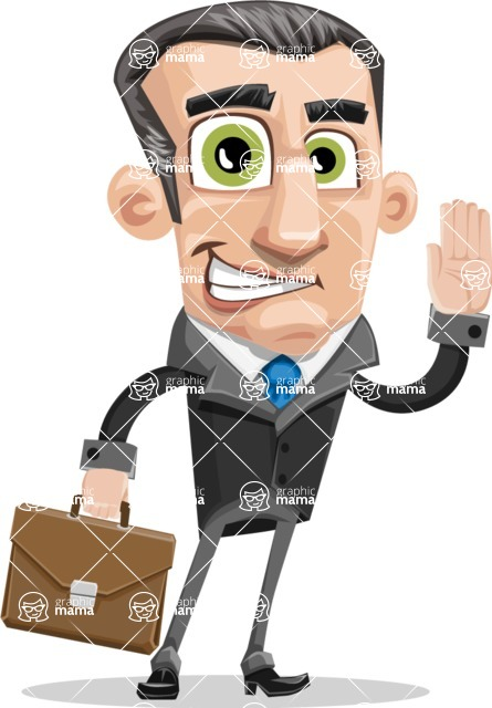 Funny Businessman Cartoon Vector Character AKA Frank - Brifcase 2