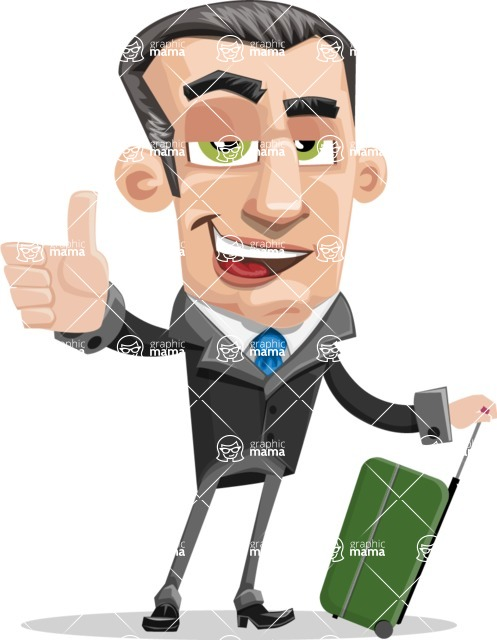Funny Businessman Cartoon Vector Character AKA Frank - Travel 1