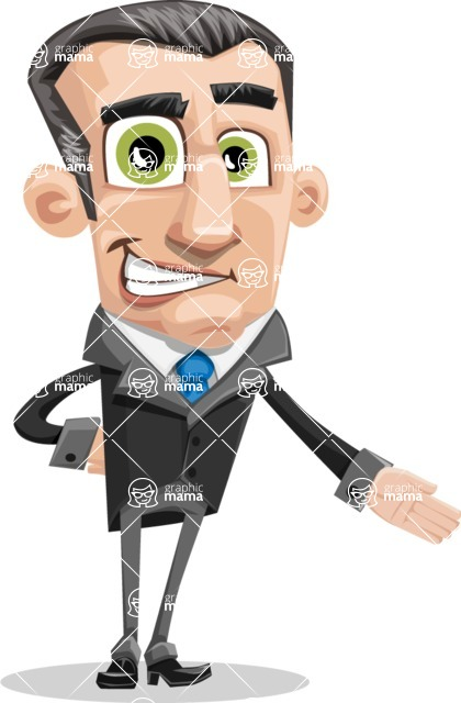 Funny Businessman Cartoon Vector Character AKA Frank - Show