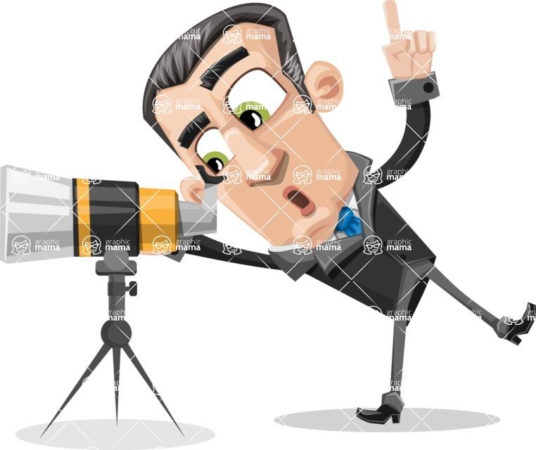 Funny Businessman Cartoon Vector Character AKA Frank - Telescope