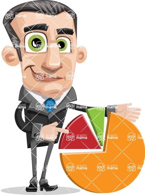 Funny Businessman Cartoon Vector Character AKA Frank - Chart