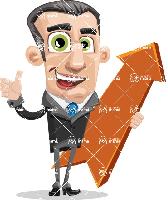 Funny Businessman Cartoon Vector Character AKA Frank - Pointer 1