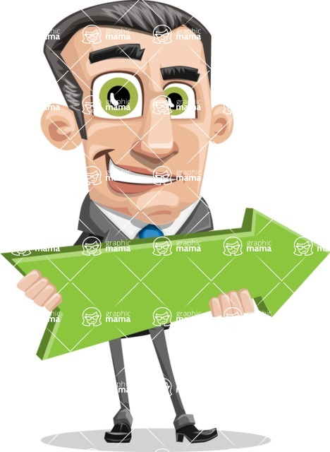 Funny Businessman Cartoon Vector Character AKA Frank - Pointer 2